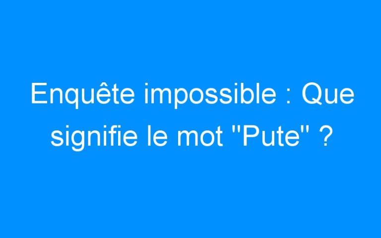 Enquête impossible : Que signifie le mot «Pute» ?