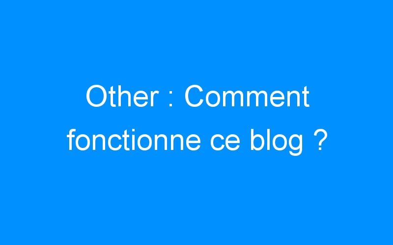 Other : Comment fonctionne ce blog ?