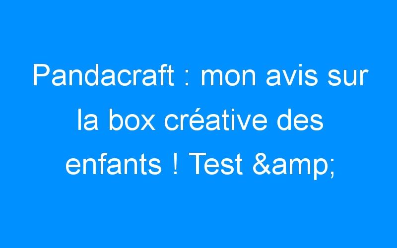 Pandacraft : mon avis sur la box créative des enfants ! Test & Avis