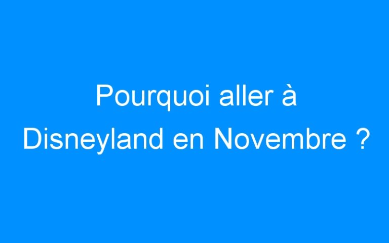 Pourquoi aller à Disneyland en Novembre ?